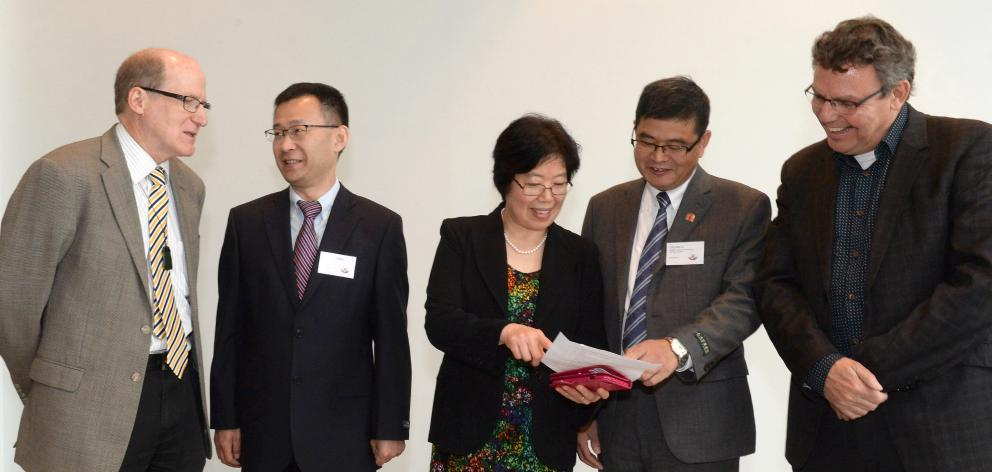 Scientists (from left) Wickliffe Abraham, Xiangjun Chen, Ping Liu, Chunbo Li and John Reynolds...