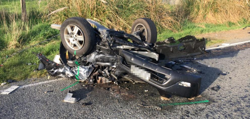 A 10-year-old boy was seriously injured and three others received moderate injuries after a crash near Geraldine. Photo: Supplied