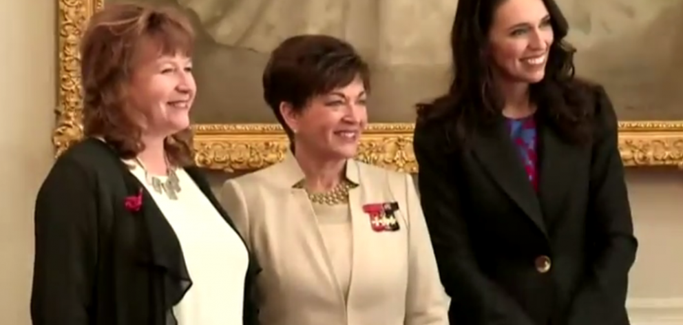 MP Clare Curran with Dame Patsy Reddy and PM Jacinda Ardern at the swearing in ceremony. Photo: NZ Herald