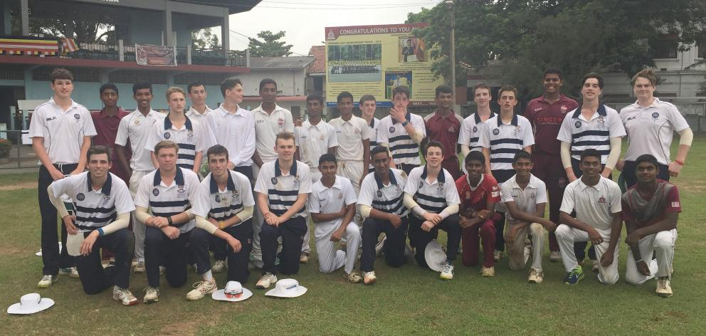 The Otago Boys' High School cricket team after a win against Nalanda College, in Colombo, Sri Lanka. Photo: Supplied