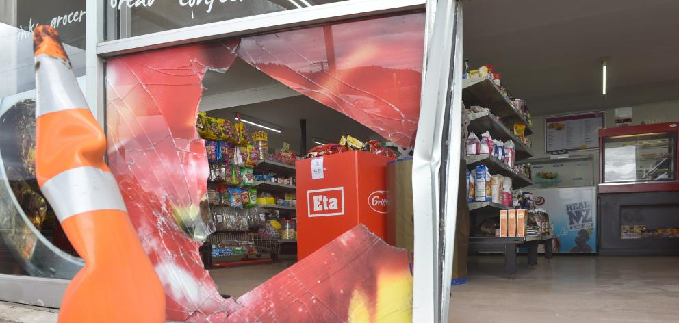The On the Spot store in Waitati was badly damaged in a burglary this morning. PHOTO: PETER MCINTOSH