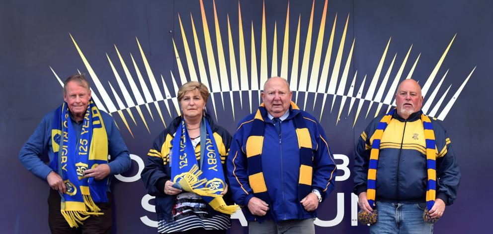 Otago Rugby Supporters Club members (from left) patron Gerard Simmons, Elaine Shanks, Jim Shanks and Gary Clegg, at Forsyth Barr Stadium yesterday. Photo: Peter McIntosh