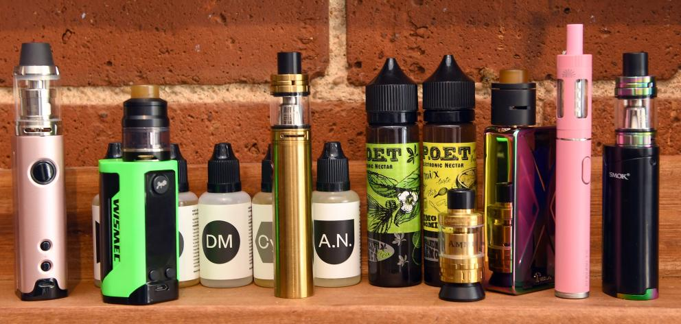 A selection of vaporisers and e-liquid at  Dunedin store Vapourium. Photo: Stephen Jaquiery