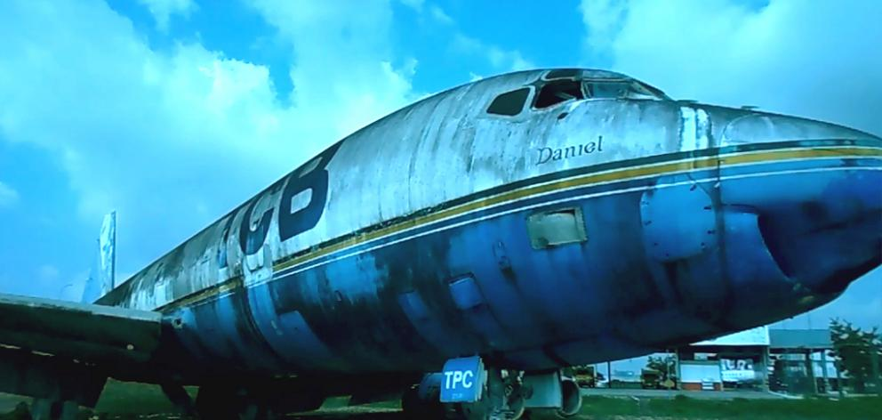 A Douglas DC8 which was once part of the Air New Zealand fleet now lies derelict in the corner of...