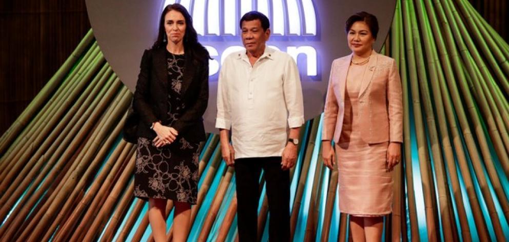 NZ Prime Minister Jacinda Ardern, Philippine President Rodrigo Duterte and his partner Cielito Avanceno. Photo: Reuters