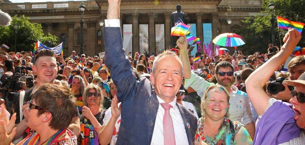 Leader of the Opposition Bill Shorten celebrates in the crowd during the Official Melbourne...