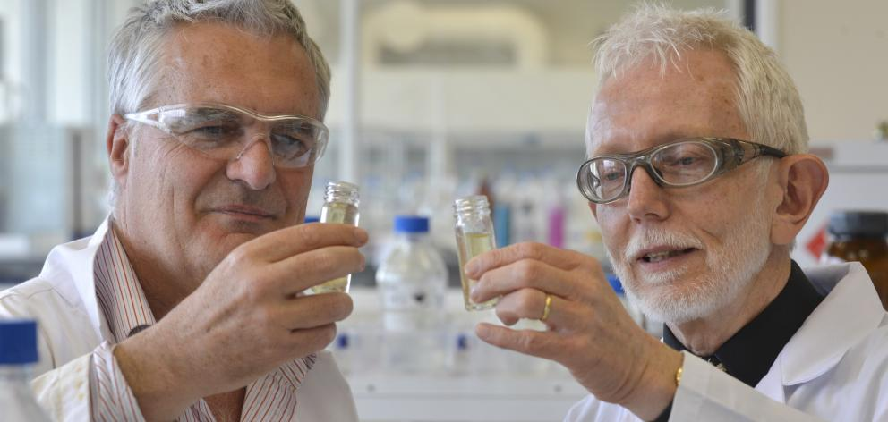 University of Otago polymer expert Associate Prof Steve Moratti (left) and professor of chemistry...