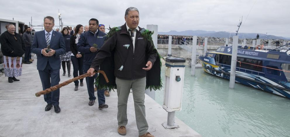 Kaumatua Brett Cowan leads Civil Defence Minister Kris Faafoi, Kaikoura MP Stuart Smith and the official party during the blessing of Kaikoura's new marina. Photo / Mark Mitchell