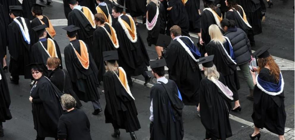 The University of Otago graduation parade on Saturday.