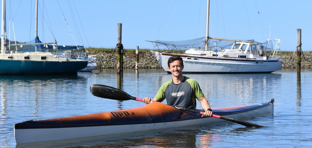 Dunedin multisport athlete Alex Cheung, about to go kayaking on  Otago Harbour last month. Photo:...