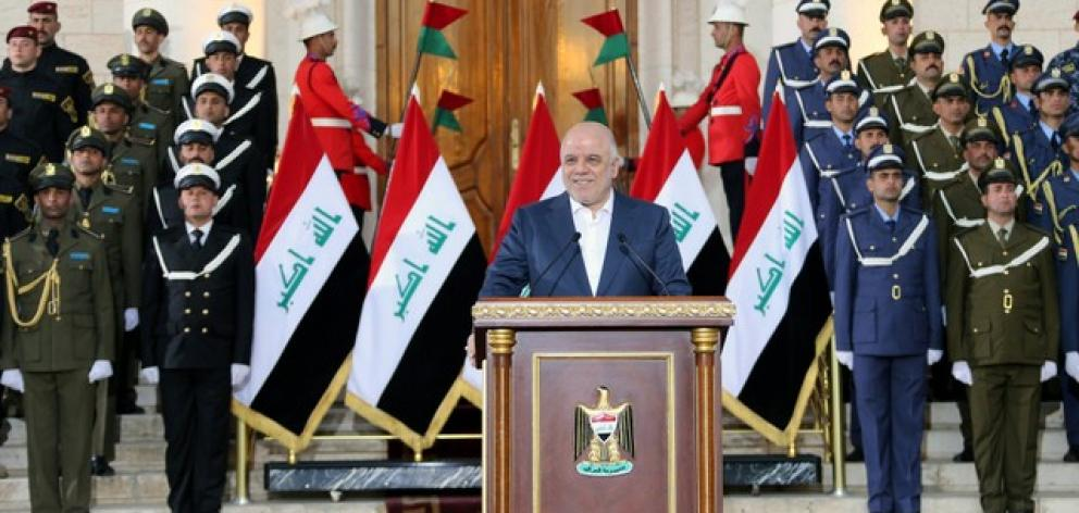 """Iraqi Prime Minister Haider al-Abadi delivers a speech in Baghdad. Photo"""" Reuters"""