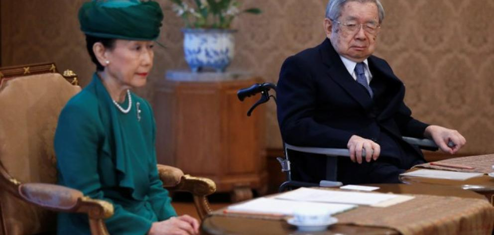 Japan's Prince Hitachi and his wife Princess Hanako attend a meeting of the Imperial Household Council. Photo: Reuters
