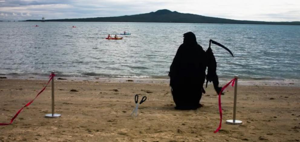 Water Safety New Zealand's Swim Reaper will be out patrolling the hot spots over the summer months. Photo: NZ Herald