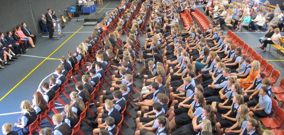 Taieri College principal David Hunter addresses pupils, parents, grandparents and friends at the...