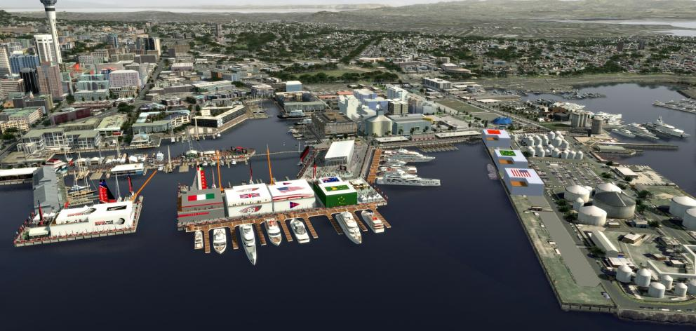 Auckland City Council last week voted to support a proposal for a cluster of bases across Wynyard, Halsey and Hobson wharf as its preferred option. Photo: Animation Research Ltd