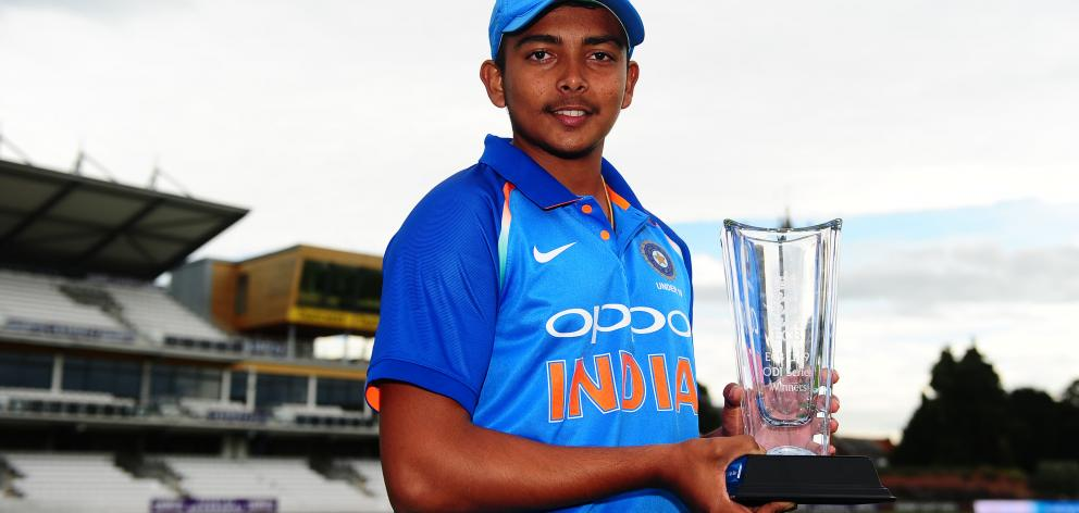 India under-19 player Prithvi Shaw poses with the trophy after  his team's fifth Youth ODI match...