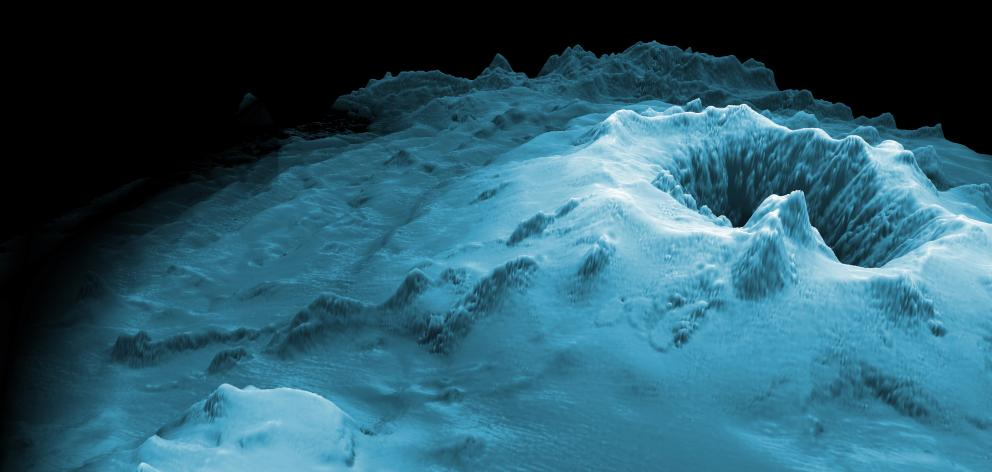 An oblique image of the Havre submarine volcano. The top of the volcano is at 650m below sea...