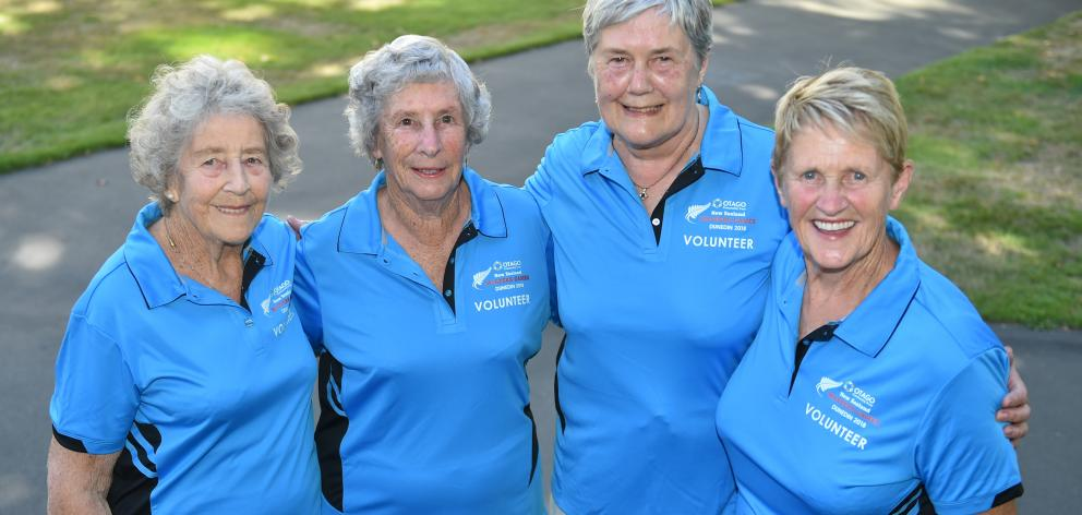 Long-time Masters Games volunteers (from left) Shirley Egerton, Noeline Harris. Lesley Lloyd and Shirley McNeilly in Dunedin yesterday. Photo: Gregor Richardson