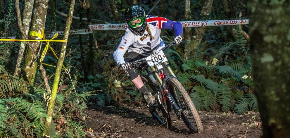 Queenstown's Alanna Columb on her way to winning the Oceania Mountain Bike Championships downhill...