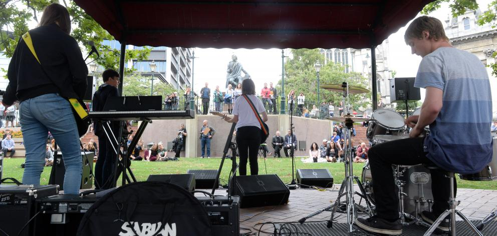 Dunedin band Th (Thunderscore)  (from left) Rachel Wilson (18), Ollie Meikle (17), Chelsea...