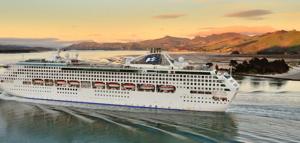 Sea Princess glides into Otago Harbour on an earlier visit to Dunedin. PHOTO: GERARD O'BRIEN