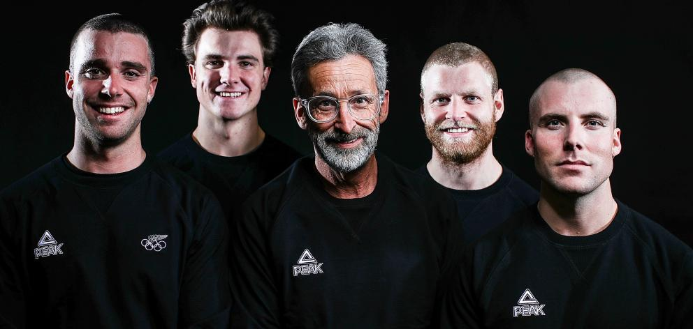 Wanaka's Wells brothers (from left) Beau-James, Jackson, Byron, Jossi and father coach (centre) Bruce Wells all have their sights set on the Winter Olympics in PyeongChang, South Korea, starting in February next year. Photo: Getty Images