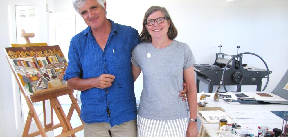 Wellington couple artist/writer Gregory O'Brien and writer/anthologist Jenny Bornholdt enjoy the...