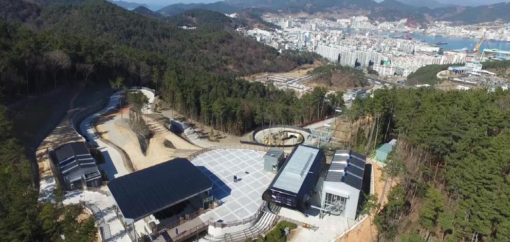 An aerial photograph of Skyline Enterprises' $20million  Skyline Luge Tongyeong development in...