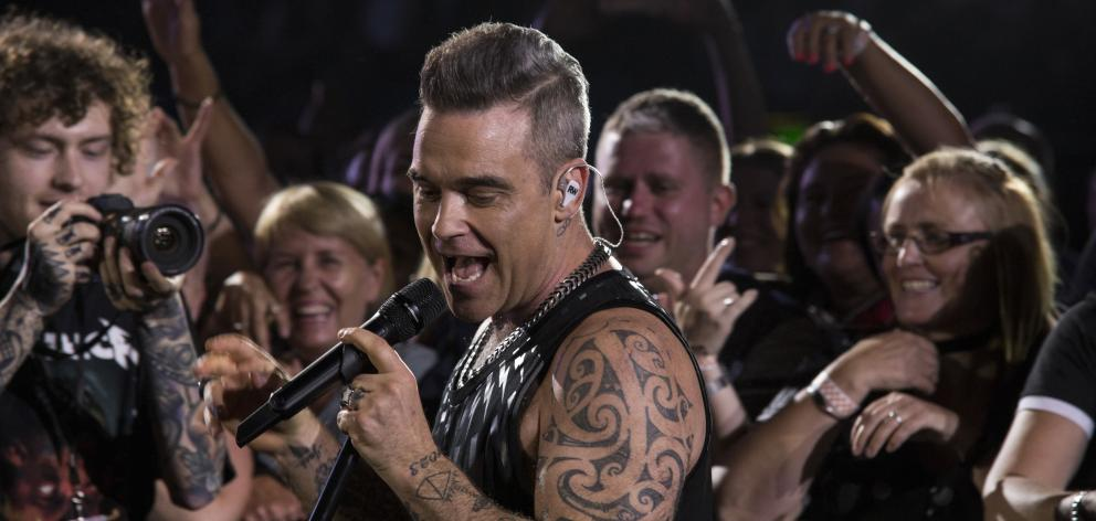 Robbie Williams live in Auckland last night. Photo: Garry Brandon