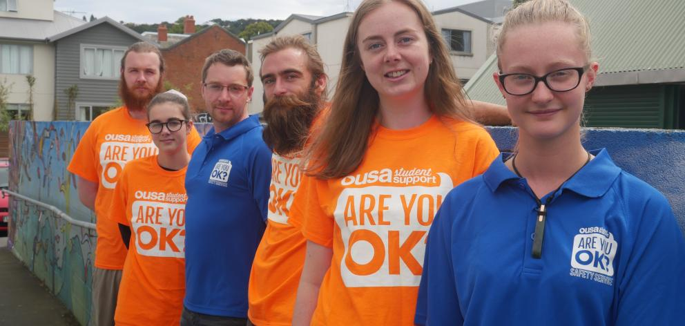 OUSA Student Support manager Sage Burke (third from left) with (from front to back) Are You OK? safety service co-ordinator Amber Midgelow-Marsden and volunteers Abigail Clark, Josh Smith, Ella George and Kirio Birks. PHOTO: JESSICA WILSON
