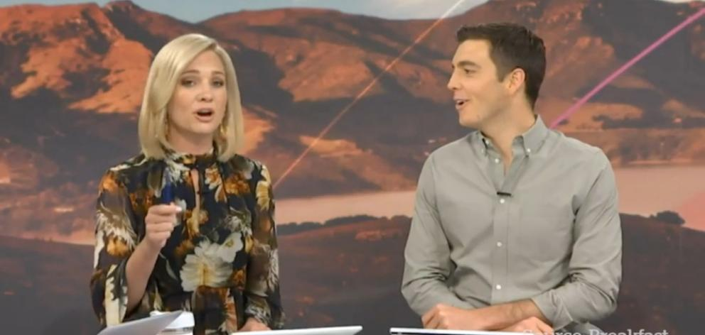 Breakfast presenters Hayley Holt and Jack Tame. Photo: TVNZ