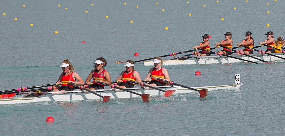Two Dunstan High School crews race alongside each other at the South Island secondary school...