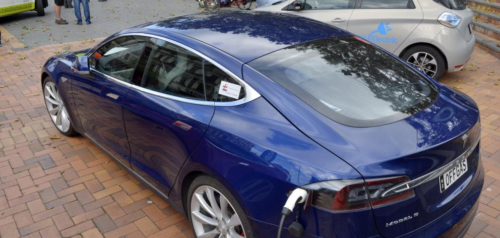 This Tesla electric vehicle was among about 25 electric vehicles on display in the Octagon...