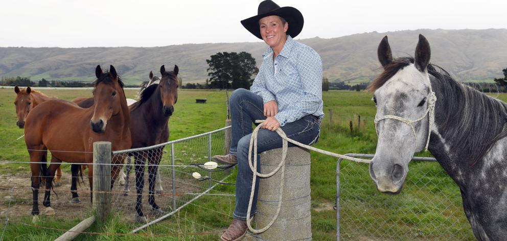 At home on the farm ... Jenny Atkinson has won a record six national barrel racing titles. PHOTO:...