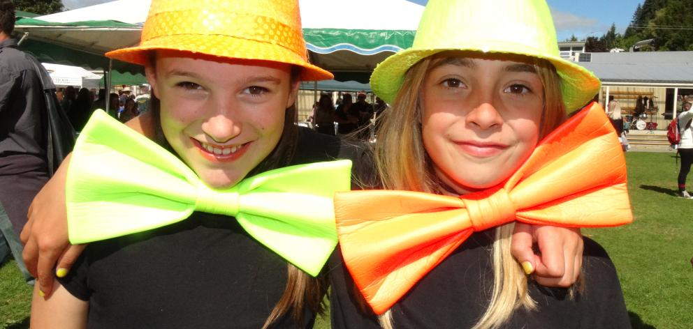 Sara Wamington and Stella Rhind (both 11) at the Queenstown Primary School fair. PHOTO: MANDY COOPER