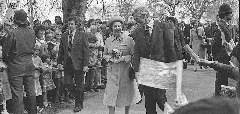 Queen Elizabeth II in the Museum reserve during the royal visit in Dunedin 1981. Photo: ODT files