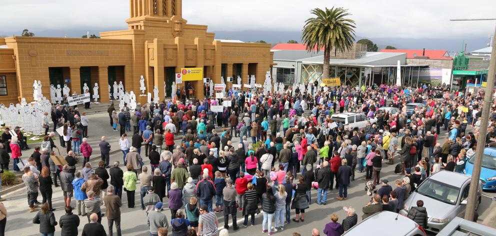 About 2000 people turned out on Saturday for a street march through Westport to protest the...