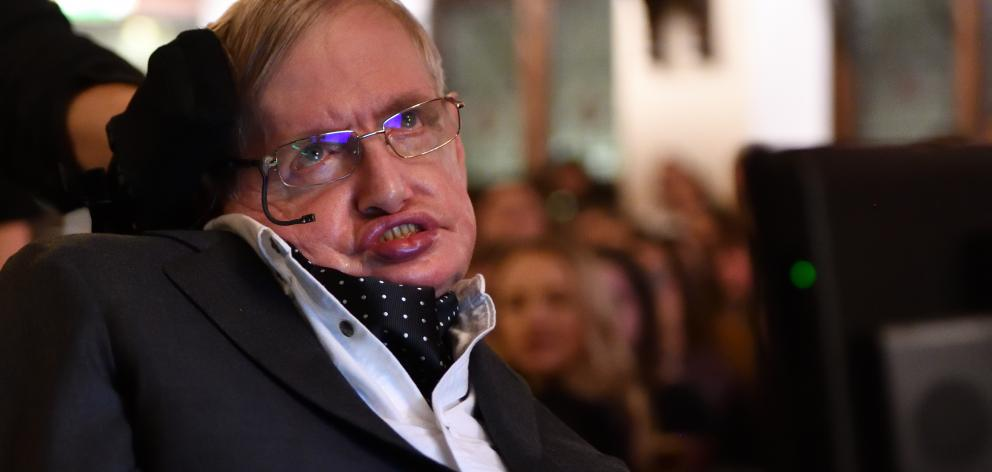 Stephen Hawking addressing The Cambridge Union. Photo: Getty Images