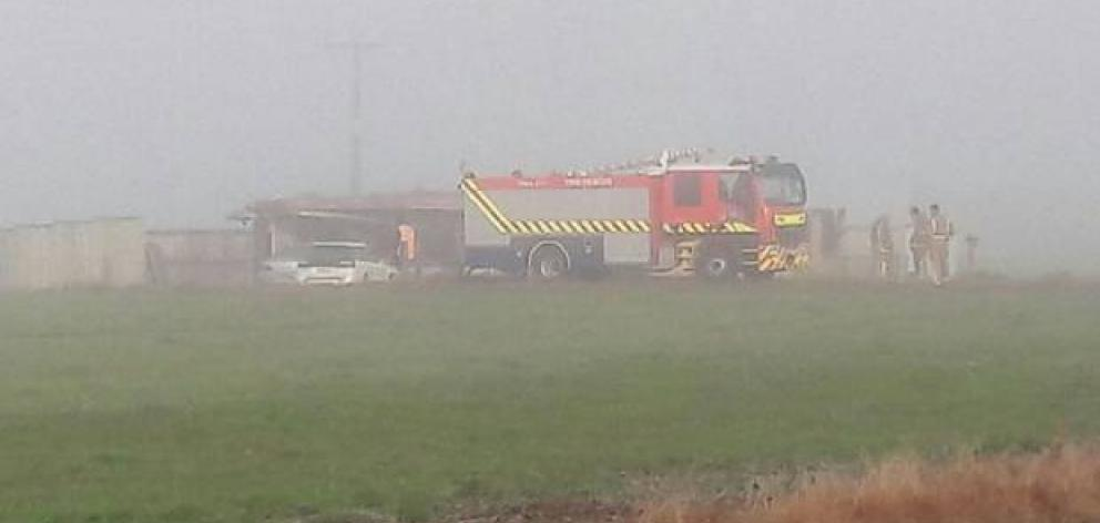 The scene of the triple fatal fire on State Highway 5 at Rangitaiki. Photo: NZ Herald
