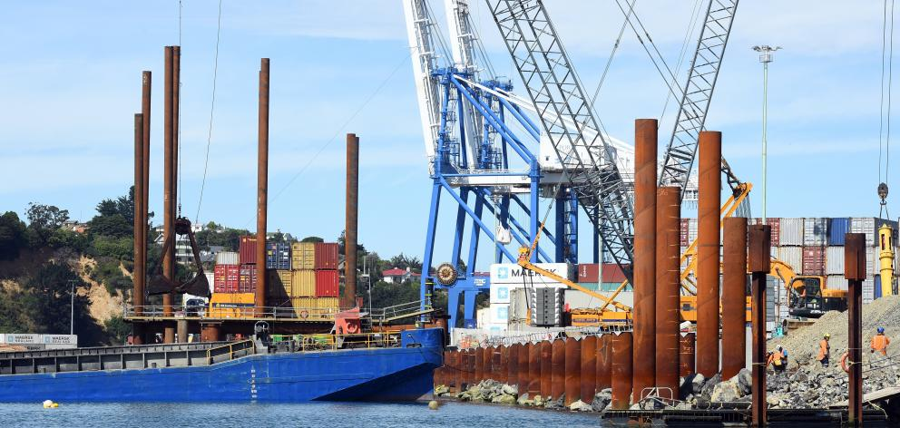 Work is on time and on target for Port Otago's $21 million wharf redevelopment at Port Chalmers. Photo: ODT files