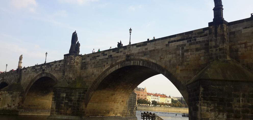 One of the many bridges over Prague's Vitava River.
