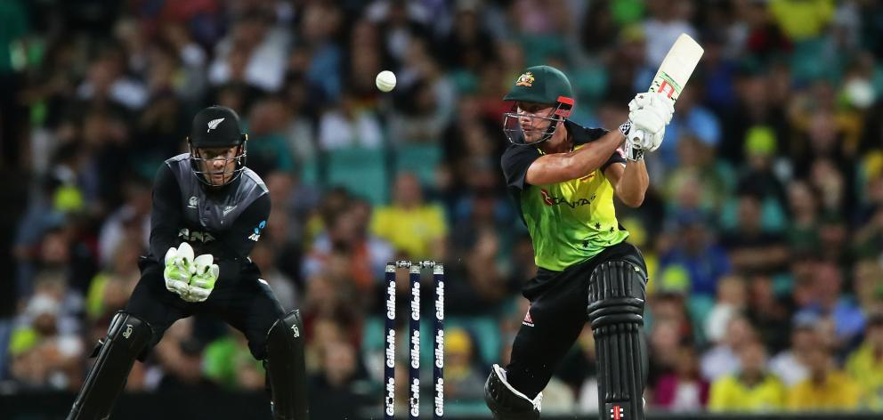 Chris Lynn of Australia bats during game one of the International Twenty20 series between Australia and New Zealand. Photo: Getty Images