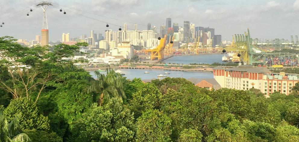 The amazing view from the Sentosa Island cable car.