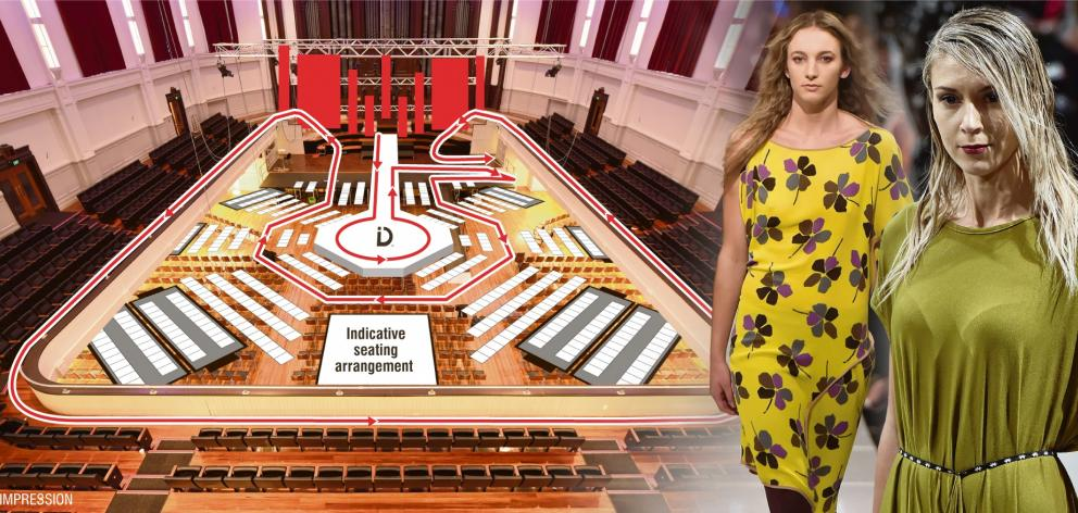 Planned catwalk route for iD Emerging Designer Show at Dunedin Town Hall. Photos: Gregor Richardson
