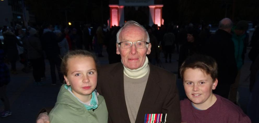 Duncan Robertson and great-grandchildren Charlotte (12) and Samuel Muir (11) after the dawn...