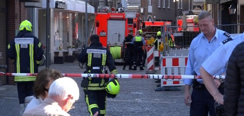 Police block a street in Muenster where a vehicle drove into a group of people killing several and injured many. Photo: Reuters