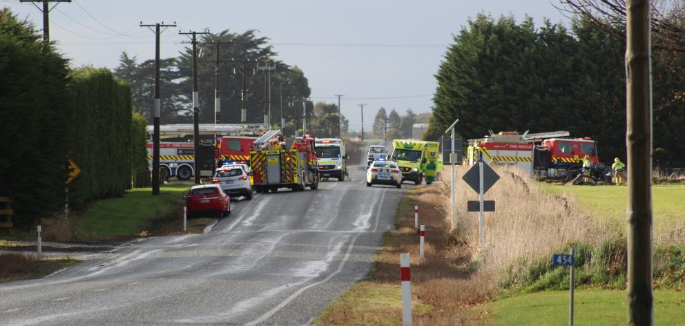 Emergency services at the scene of a serious crash in Southland today. Photo: Petrina Wright