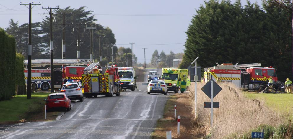 Emergency services at the scene of a serious crash in Southland yesterday. Photo: Petrina Wright