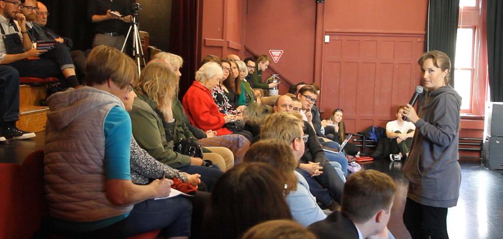 Members of Dunedin's theatre community listen as actor Rosella Hart addresses the Save the Fortune Theatre meeting, at Allen Hall on Tuesday. PHOTO: JOHN COSGROVE