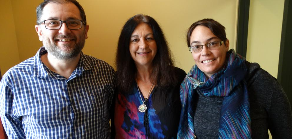 Keen members of Dunedin's Monday Meditations group (from left) Rob Tigeir, Suraya Langston and Ngaire Tigeir believe regular guided group meditation has huge benefits for focus and stability. PHOTO: BRENDA HARWOOD